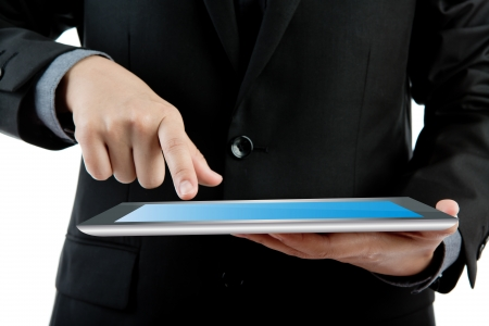 Business man holding the modern digital tablet pc photo