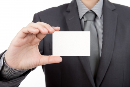 Business man handing  blank business card isolate on white background photo