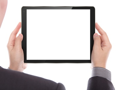 Business man with touch screen device Stock Photo - 13986848