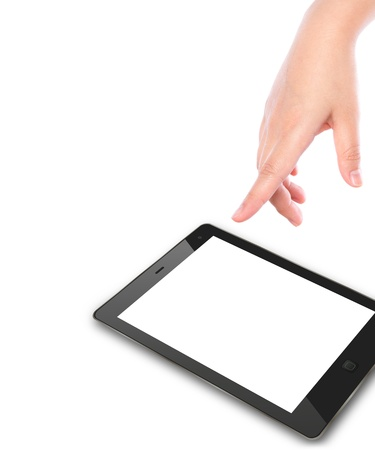 Hand pointing on touch screen device photo