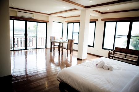 suite: Interior of modern comfortable hotel room
