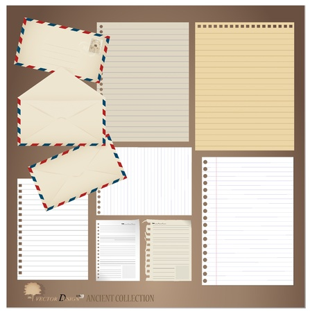 Vintage paper designs  various note papers, ready for your message  Stock Vector - 14178098