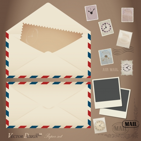 antiqued: Envelope and stamp  Vector Illustration Illustration