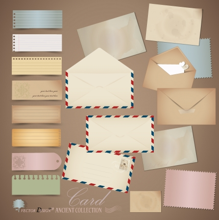 letter envelope: Vintage paper designs  various note papers, ready for your message Illustration