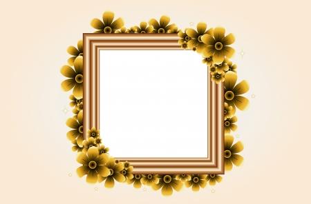 old mirror: Flower blossom border (Antique frame with flower.)
