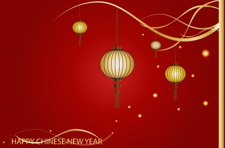 Fairy-lights. Big traditional chinese lanterns will bring good luck and peace to prayer during Chinese New Year. Vector Illustration. Vector