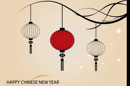 paper lantern: Fairy-lights. Big traditional chinese lanterns will bring good luck and peace to prayer during Chinese New Year.  Illustration