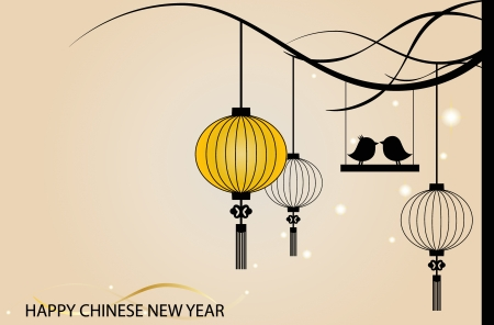 Fairy-lights. Big traditional chinese lanterns will bring good luck and peace to prayer during Chinese New Year. Stock Vector - 14179066