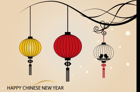 chinese lantern: Fairy-lights. Big traditional chinese lanterns will bring good luck and peace to prayer during Chinese New Year.  Illustration