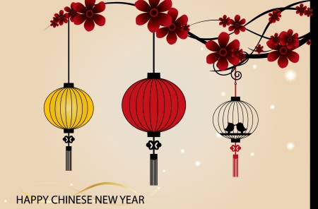 Fairy-lights. Big traditional chinese lanterns will bring good luck and peace to prayer during Chinese New Year. Stock Vector - 14180011