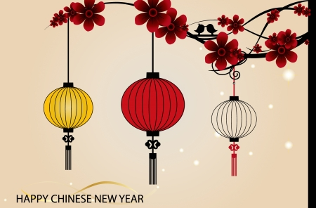 Fairy-lights. Big traditional chinese lanterns will bring good luck and peace to prayer during Chinese New Year Vector