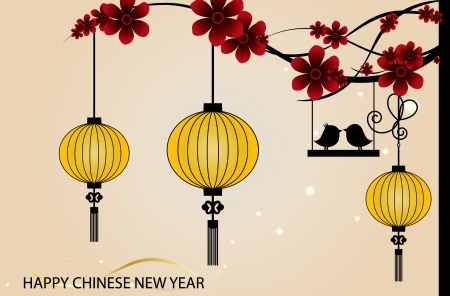 flower lamp: Fairy-lights. Big traditional chinese lanterns will bring good luck and peace to prayer during Chinese New Year.  Illustration
