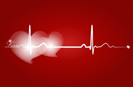 Love with EKG signal. Valentines Day. Vector