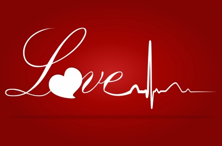 Love with EKG signal. Valentine's Day. Vector