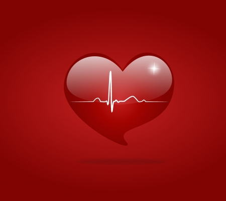 Heart with EKG signal. Valentine's Day. Vector
