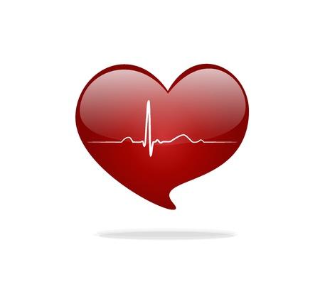 latidos del coraz�n: Coraz�n con la se�al de ECG. D�a de San Valent�n.