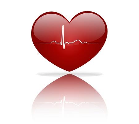 electrocardiograma: Coraz�n con la se�al de ECG. D�a de San Valent�n. Ilustraciones Vectoriales.