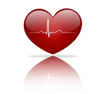 electrocardiogram: Heart with EKG signal. Valentines Day. Vector Illustration.