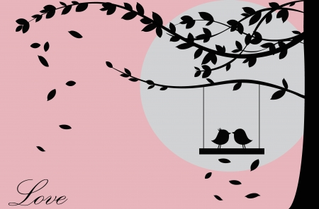 �rboles con pajaros: San Valent�n de fondo con �rboles, aves y puesta del sol. D�a de San Valent�n. Vectores