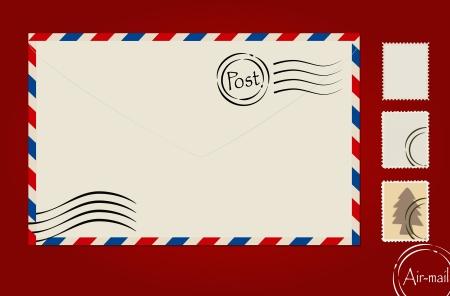 봉투, 우표 세트와 엽서. 일러스트
