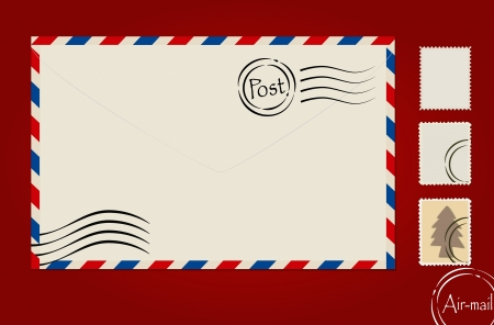 air mail: Envelope, stamp set and postcard. Illustration
