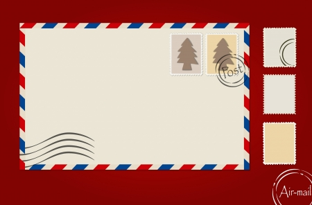 antiqued: Envelope, stamp set and postcard. Illustration