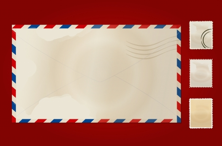 air mail: Old envelope and stamp set.
