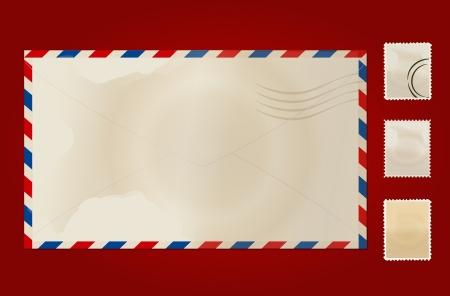 air travel: Vecchia busta e francobollo set.