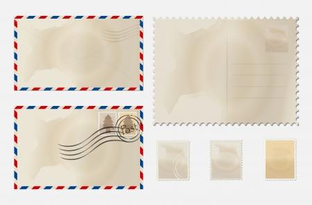 old envelope: Old envelope and stamp set.