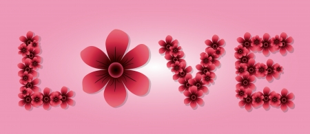 The Word LOVE Spelled With Pink Flowers for Valentines Day.  Vector