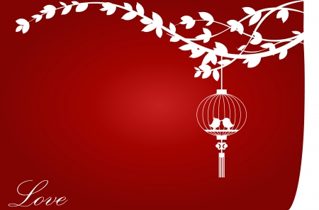Valentine background with tree, bird and bird cage. Illustration