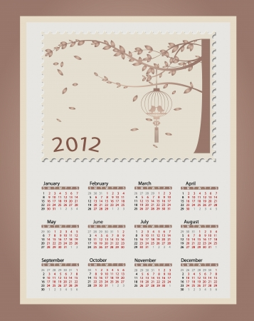 Romantic vintage background 2012 calendar. Vector
