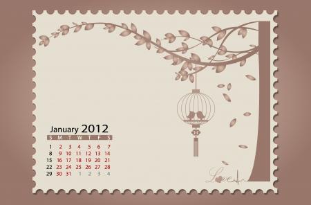 Romantic vintage background 2012 calendar,January. Easy editable. Vector