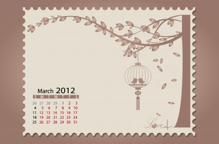Romantic vintage background 2012 calendar,March. Easy editable. Vector