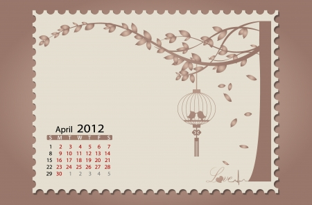 Romantic vintage background 2012 calendar,April. Easy editable. Vector
