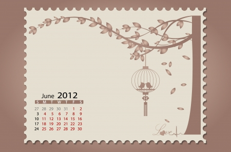 Romantic vintage background 2012 calendar,June. Easy editable. Vector