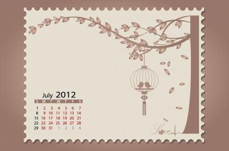 Romantic vintage background 2012 calendar,July. Easy editable. Vector