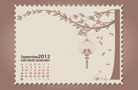 Romantic vintage background 2012 calendar,August. Easy editable. Vector