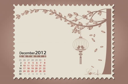 Romantic vintage background 2012 calendar,December. Vector Illustration. Easy editable. Vector