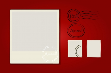 Illustration of a blank grunge post stamps and postcard on red background. Vector