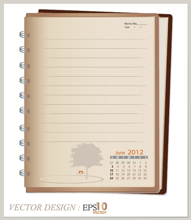 Simple 2012 calendar notebook, June. All elements are layered separately. Easy editable. Vector