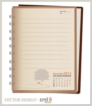 Prosty 2012 notebook calendar, listopad. Wszystkie elementy są nakładane osobno. Łatwe do edycji. Ilustracja
