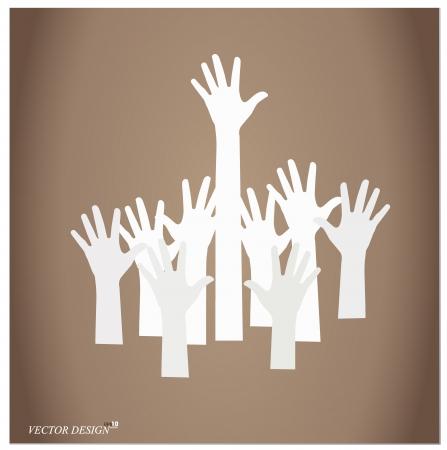 Illustration of raised hands. Stock Vector - 14178119