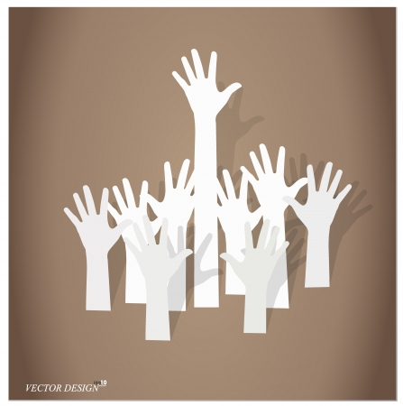 Illustration of raised hands. Stock Vector - 14178134
