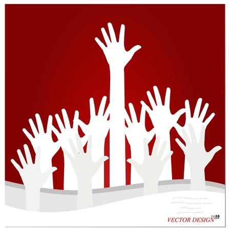 Illustration of raised hands. Vector
