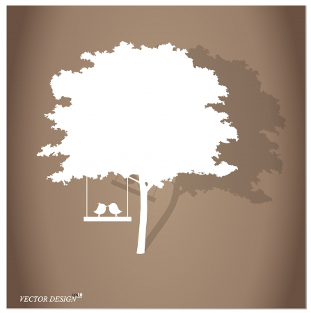Vector background with children read a book under tree.  Vector