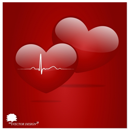 Heart with EKG signal. Valentines Day. Vector