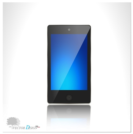pda: A modern smart phone for mobile communication with blue screen.