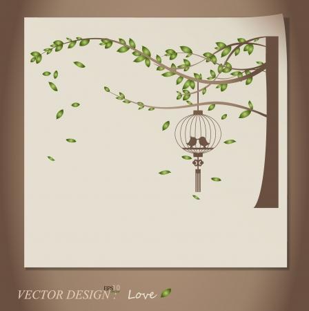 black wedding couple: Valentine background with tree, bird and bird cage. Illustration