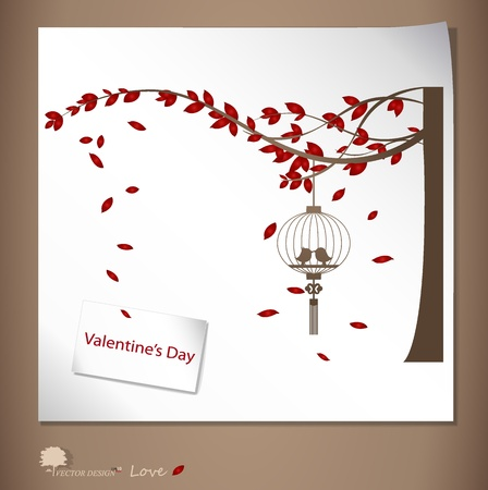 asian wedding couple: Valentine background with tree, bird and bird cage. Illustration